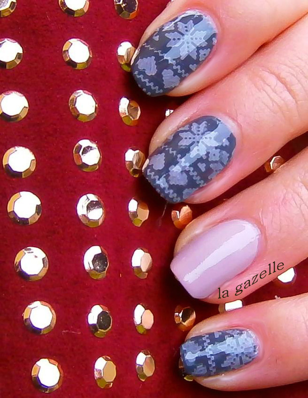 Knit Pattern nail art by Stefanie
