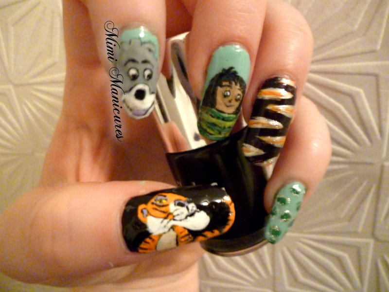 freehand disney jungle book nail art nail art by Michelle Travis