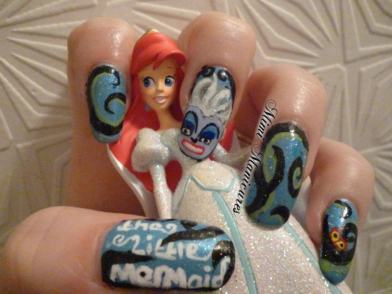 Disney Little Mermaid nail art by Michelle Travis