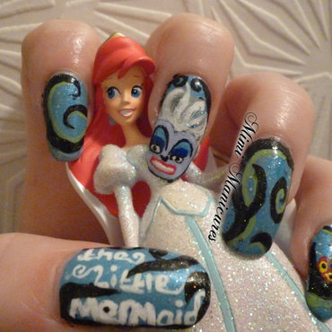 Disney Little Mermaid nail art by Michelle Travis