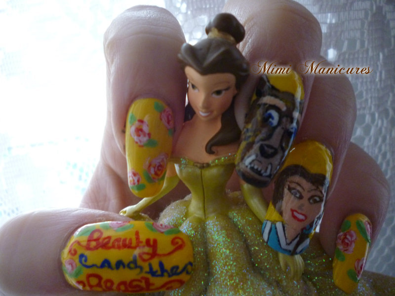 Disney Beauty & the beast  nail art by Michelle Travis