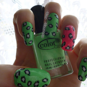 neon leopard print nail art by Michelle Travis