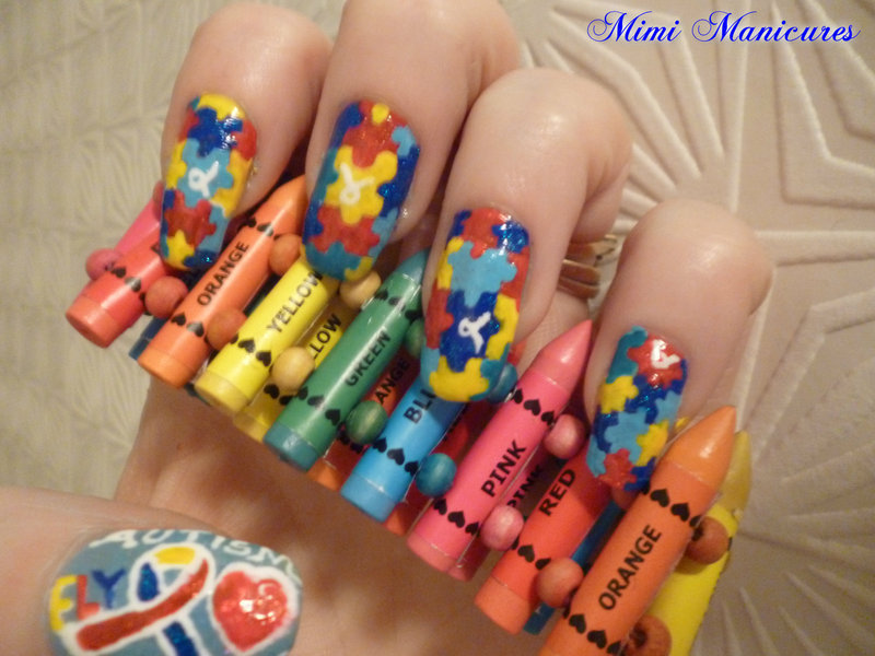 autism jigsaw nail art nail art by Michelle Travis