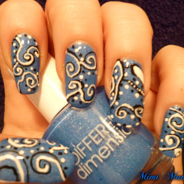 Abstract blue swirl! nail art by Michelle Travis