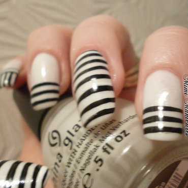 Classic stripes! nail art by Michelle Travis