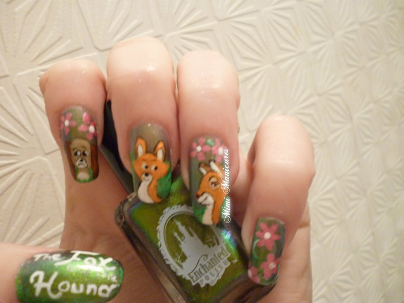 Fox and the hound nail art disney nail art by Michelle Travis