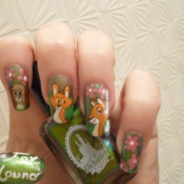 Fox and the hound nail art disney nail art by Michelle Travis