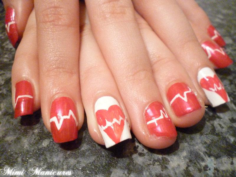Cardiac broken heart nails nail art by Michelle Travis
