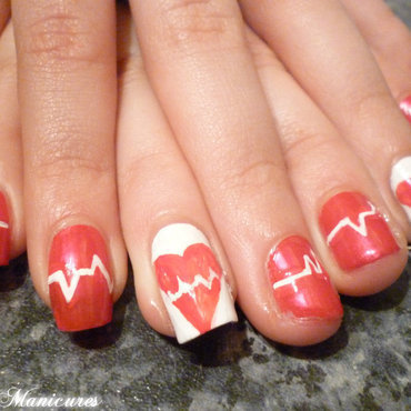 Cardiac broken heart nails nail art by Michelle Travis