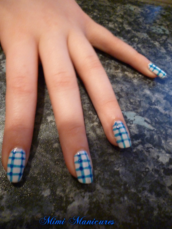 blue and white gingham nail art nail art by Michelle Travis