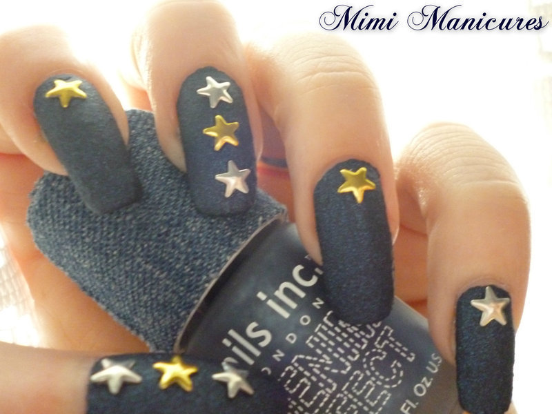Nautical Denim  nail art by Michelle Travis