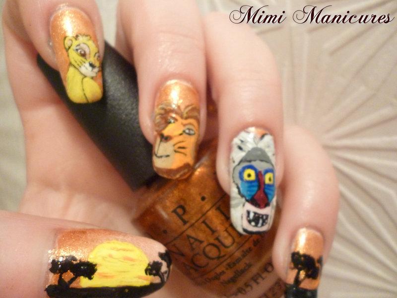 Disney Lion King nail art by Michelle Travis