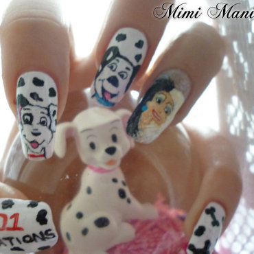 disney 101 dalmations nail art by Michelle Travis