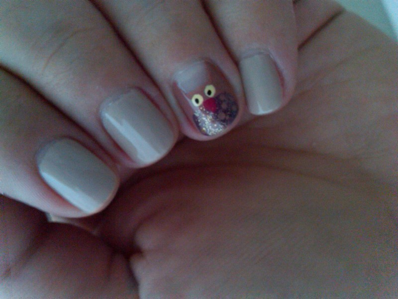 Owl design nail art by Athina