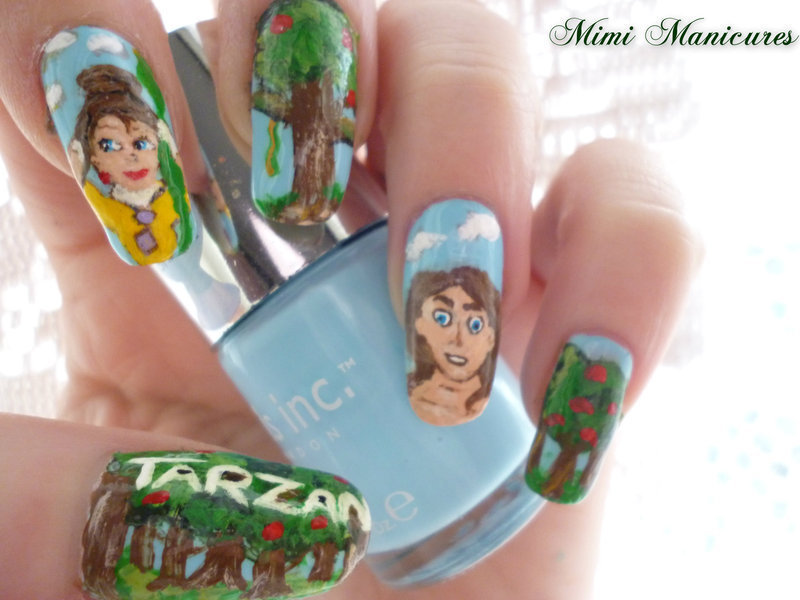 Disney Tarzan & Jane nail art by Michelle Travis