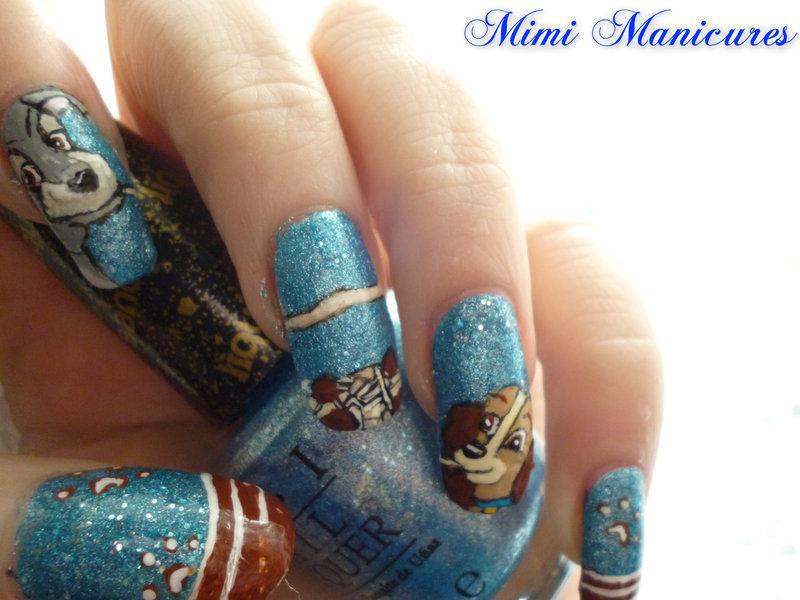 Disney Lady & the tramp nail art by Michelle Travis