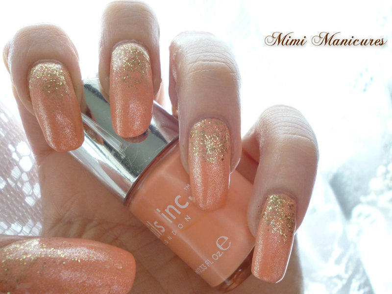 Beautiful romantic glitter fade nail art by Michelle Travis