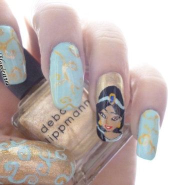 Disney Princess Jasmine nail art by Michelle Travis