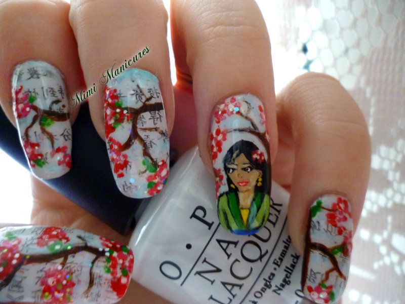 Geisha japanese newspaper nail art by Michelle Travis