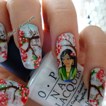 Geisha japanese newspaper nail art by Michelle Travis