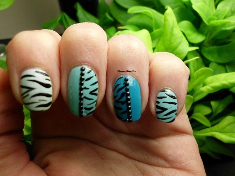 Wild Blue Zebra nail art by Angelique Adams