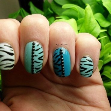 Wild Blue Zebra nail art by Angelique Adams