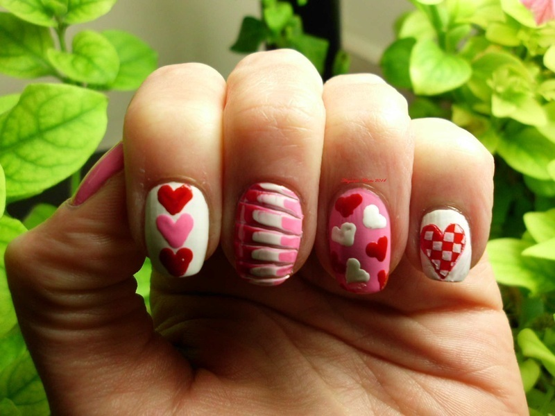 Hearts nail art by Angelique Adams