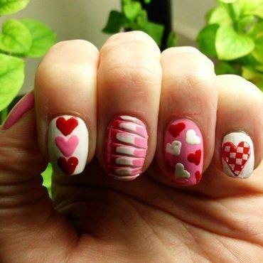 Hearts nail art by Angelique Adams