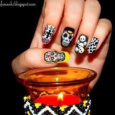 Los Muertos nail art by Paulina Domoradzka
