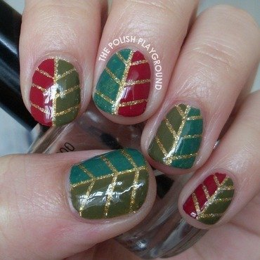 Glittery Autumn Leaf Nail Art nail art by Lisa N