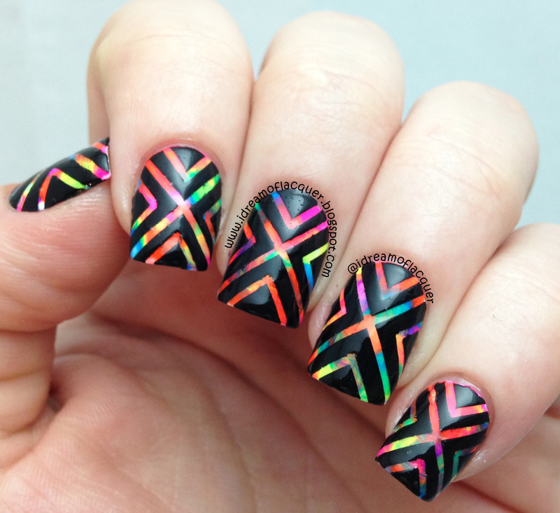 Nail Art With Tape: Neon Watercolor Tape Mani Nail Art By IDream Of Lacquer