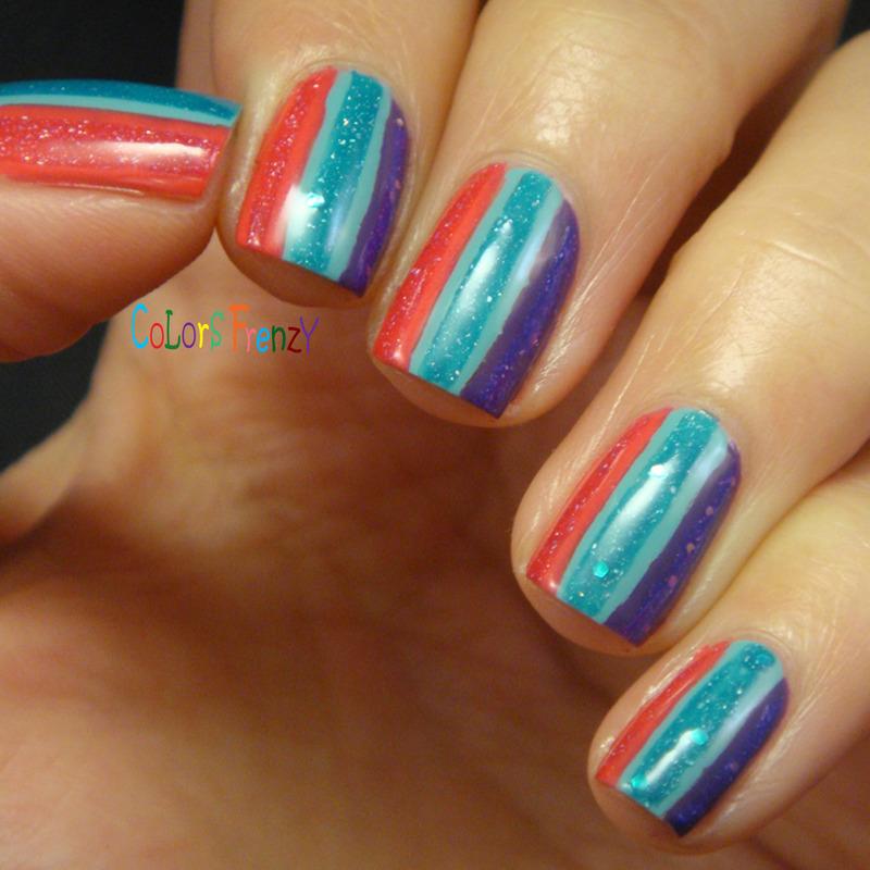 Stripes Over Stripes nail art by Novi