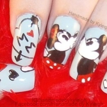 Mickey loves Minnie nail art by  Kyleigh  'Handmade By Kyleigh'