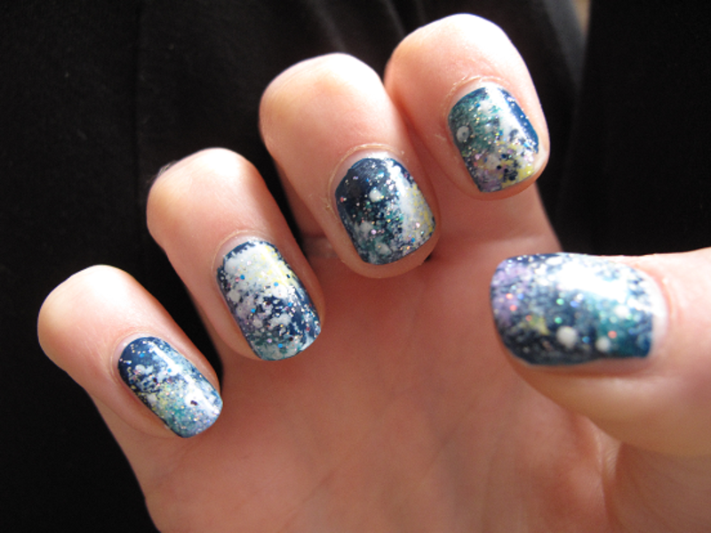 Galaxy Nails nail art by Madie