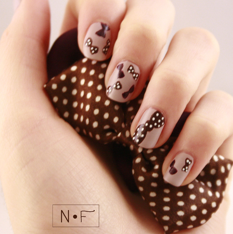 Bow Hairpins nail art by NerdyFleurty