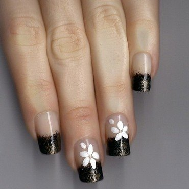 french and flowers nail art by Monik