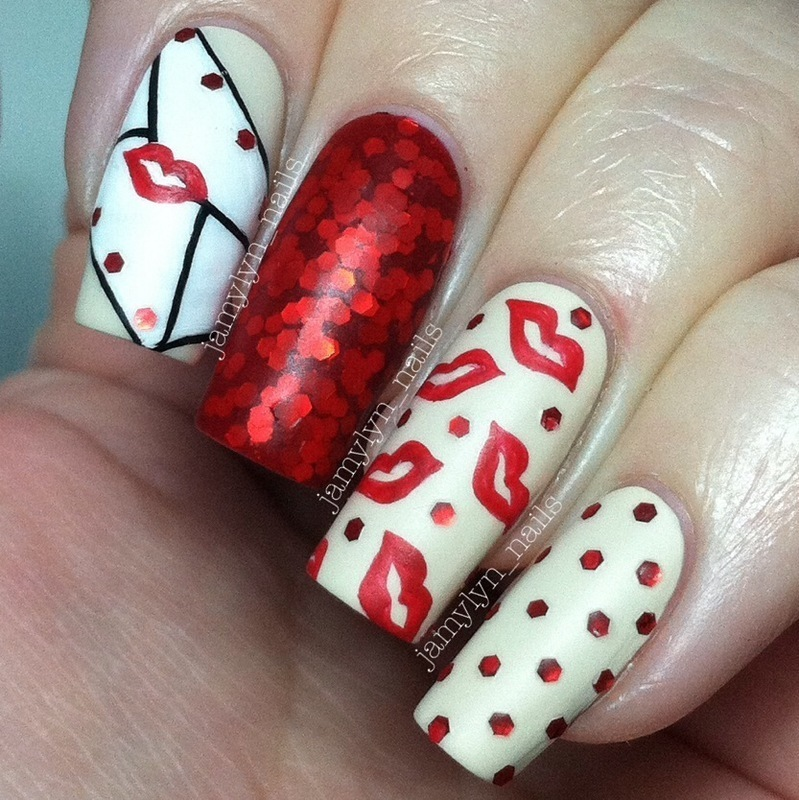 Sealed with a Kiss nail art by Jamy