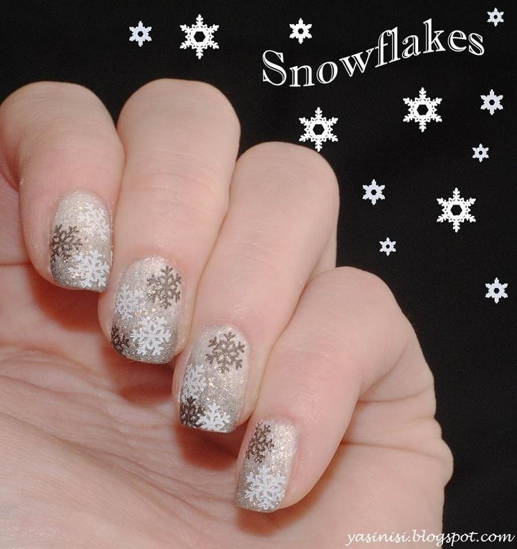 Snowflakes nail art by Yasinisi