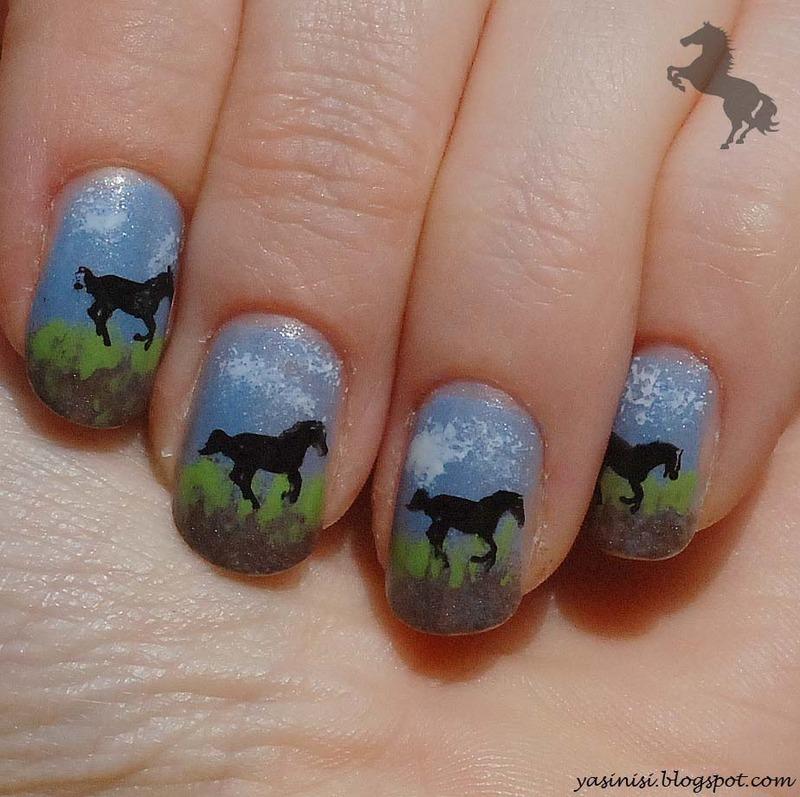 Horses nail art by Yasinisi