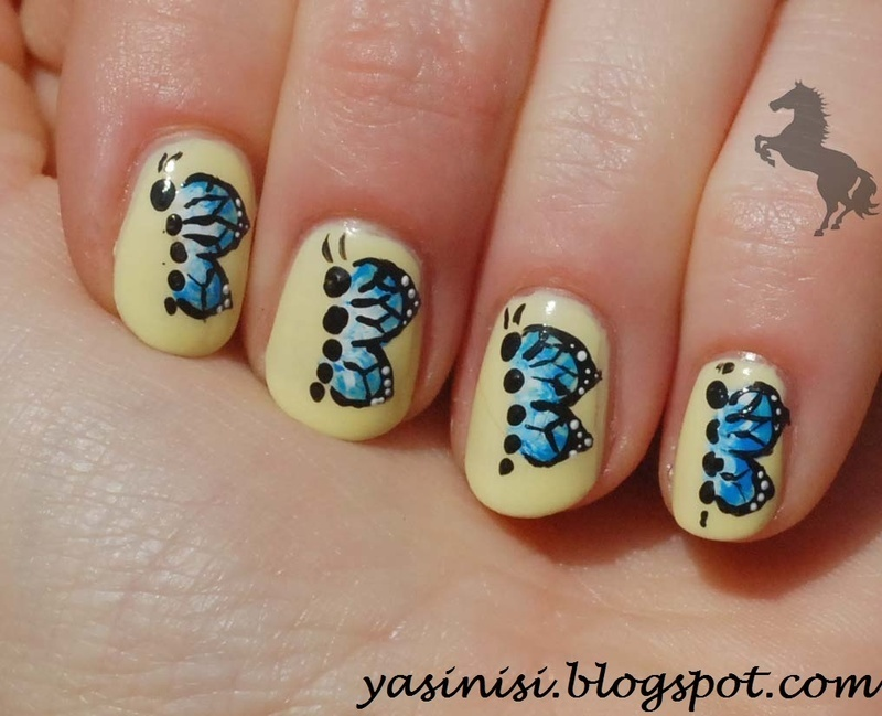 Butterflies nail art by Yasinisi