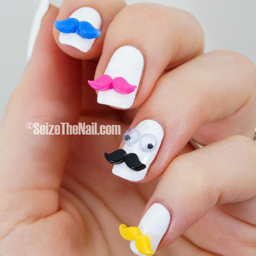 Mustaches! nail art by Bella Seizethenail