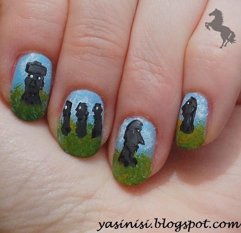 Wyspy wielkanocne nail art by Yasinisi