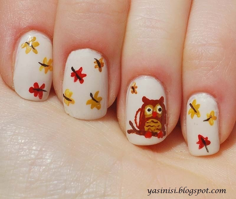 owl nail art by Yasinisi