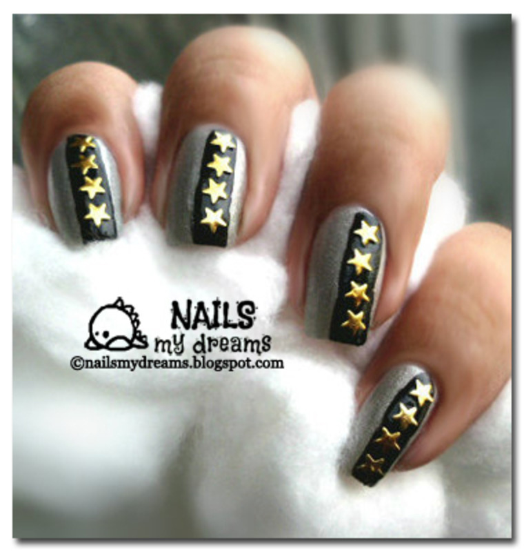 Gold Star Studded nail art by Kat of NailsMyDreams