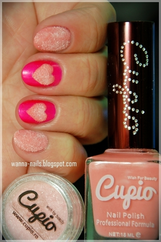 Pink velvet hearts nail art by Oana Chiciu