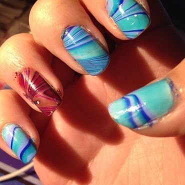 Barry M Water Marble! nail art by Rachel