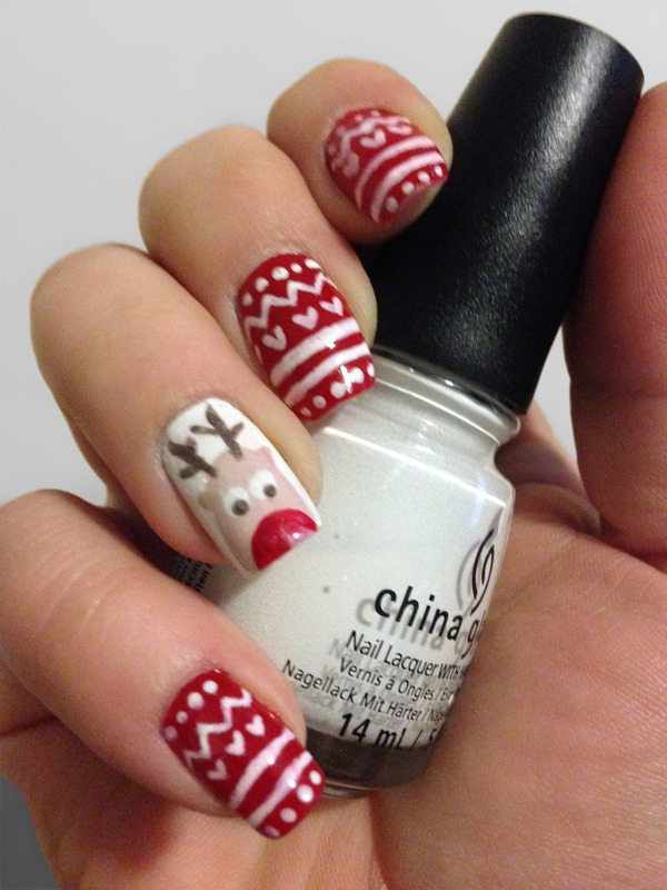 Rudolph Nails nail art by Katie