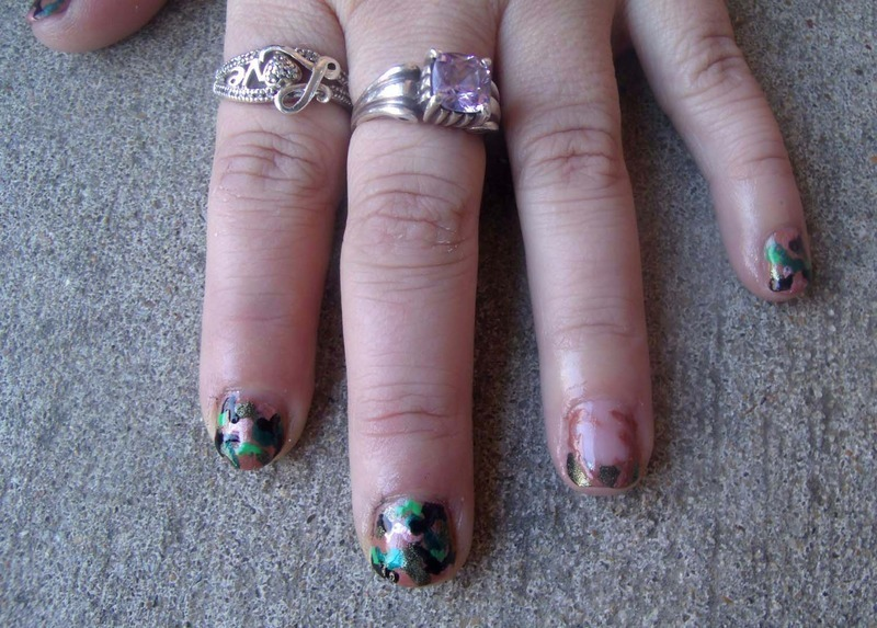 Camouflage + Antler Accent nail art by Toria Mason