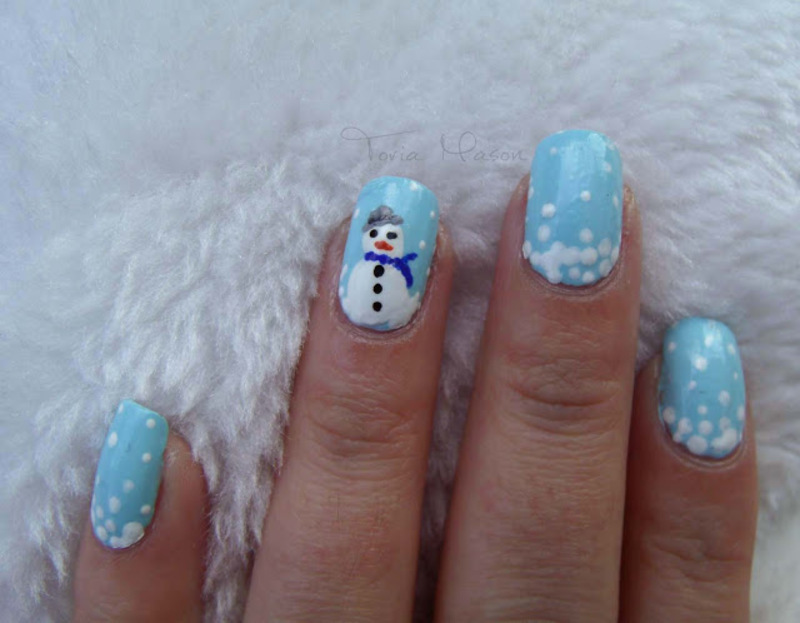 Snowman Dotticute nail art by Toria Mason