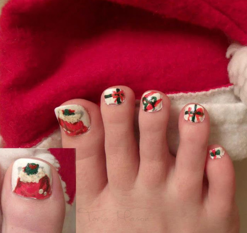 Santa's Bag of Presents nail art by Toria Mason